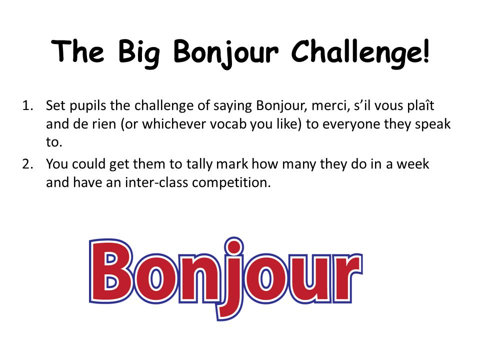 The Big Bonjour Challenge!
