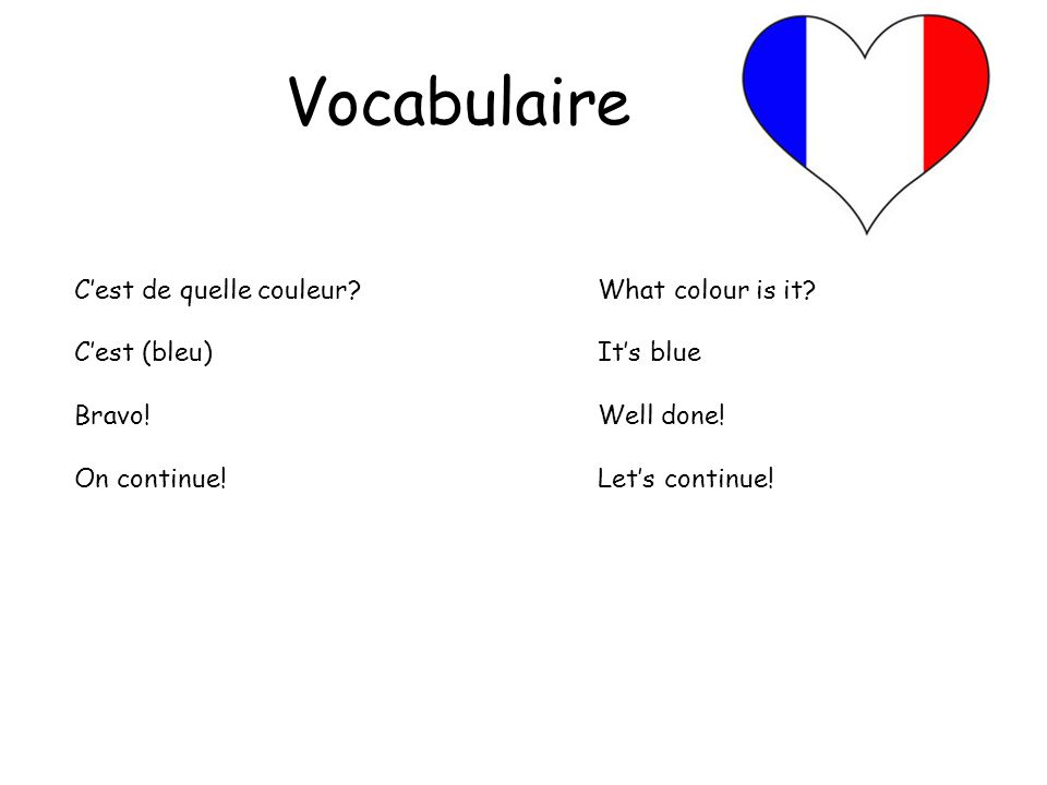 Vocabulaire C'est de quelle couleur What colour is it