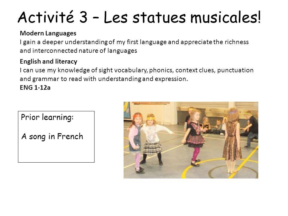 Activité 3 – Les statues musicales!