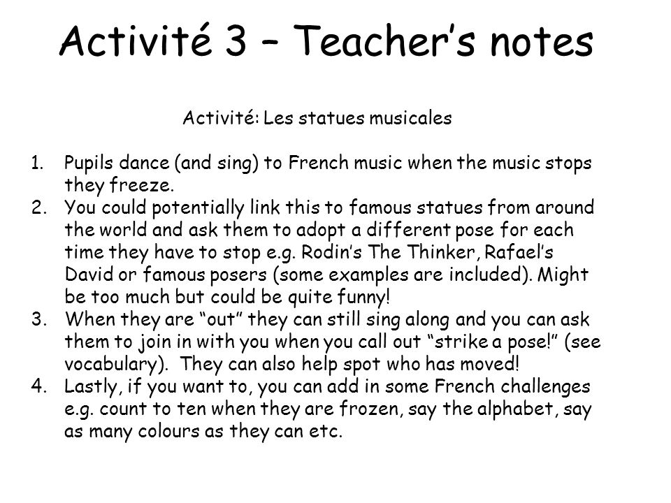 Activité 3 – Teacher's notes