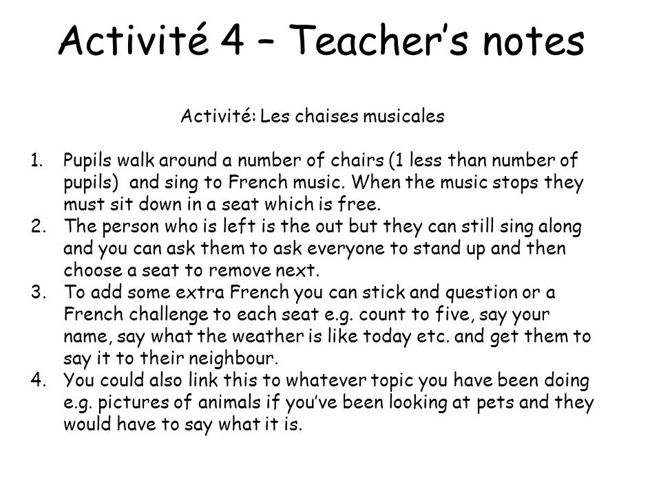 Activité 4 – Teacher's notes