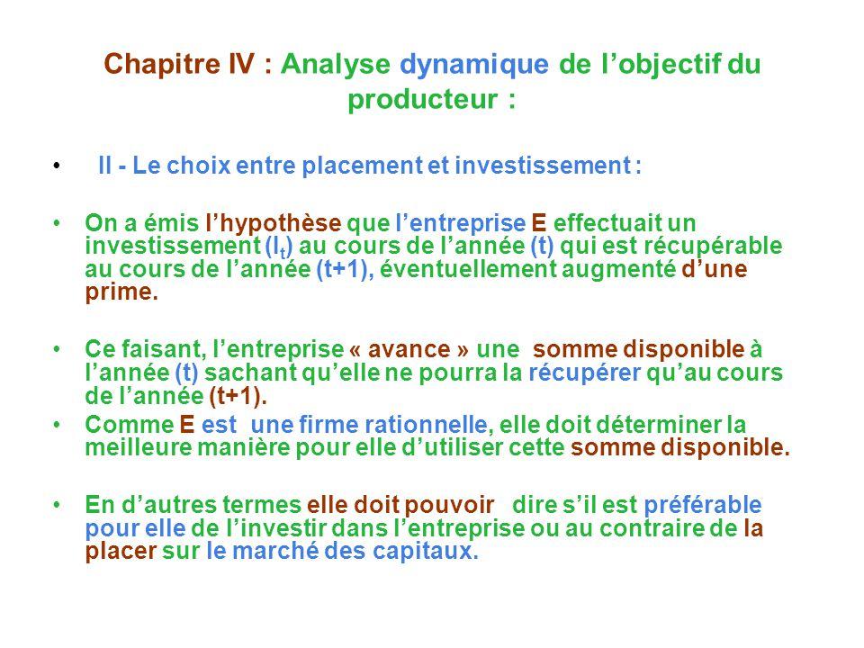 Chapitre IV : Analyse dynamique de l'objectif du producteur :