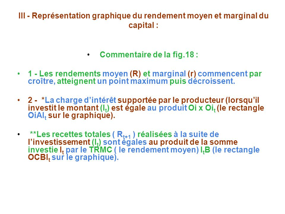 III - Représentation graphique du rendement moyen et marginal du capital :