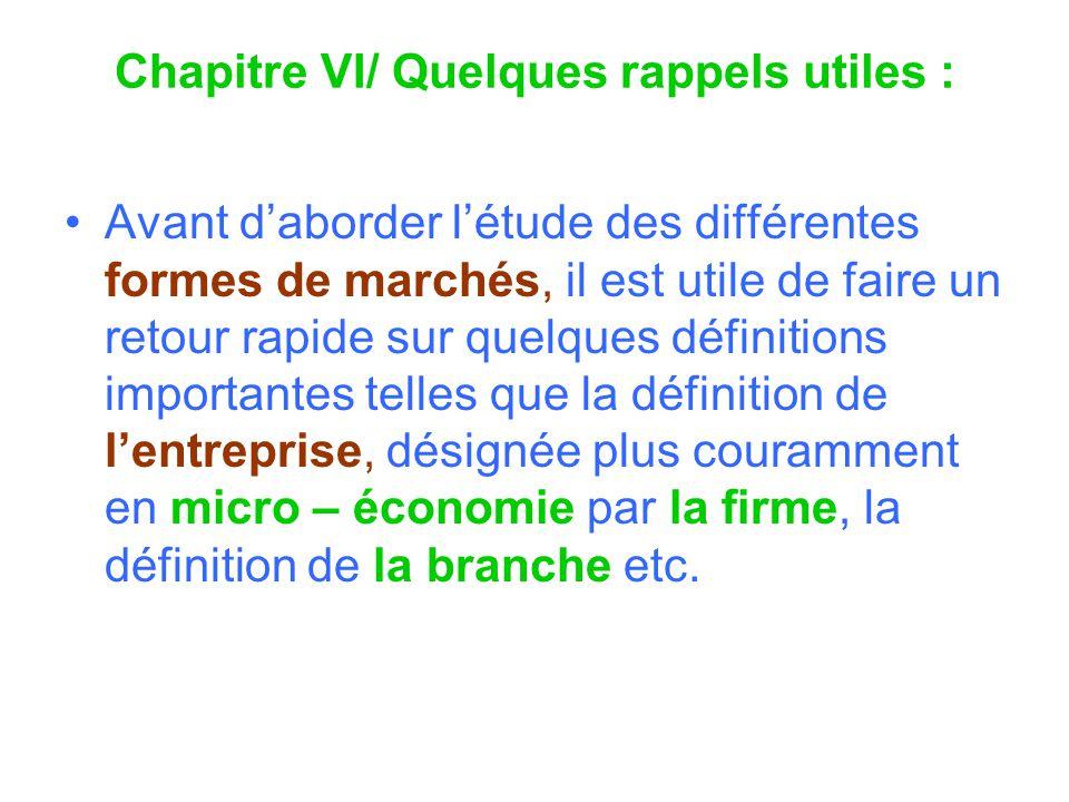 Chapitre VI/ Quelques rappels utiles :