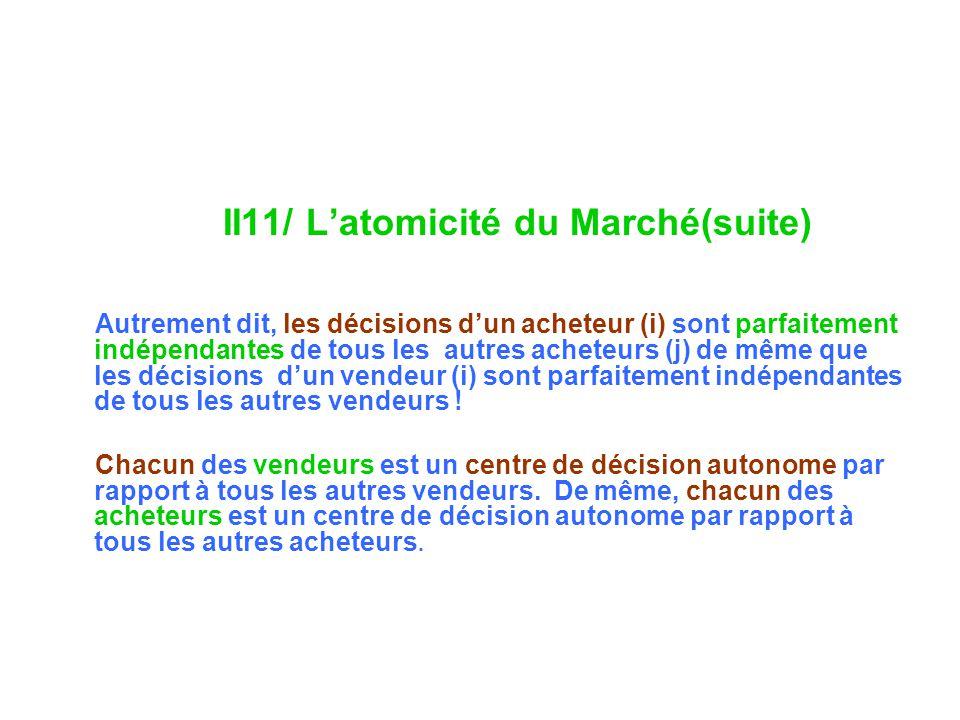 II11/ L'atomicité du Marché(suite)