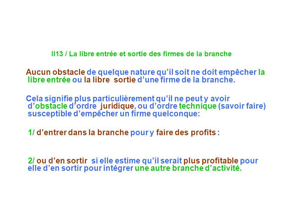 II13 / La libre entrée et sortie des firmes de la branche