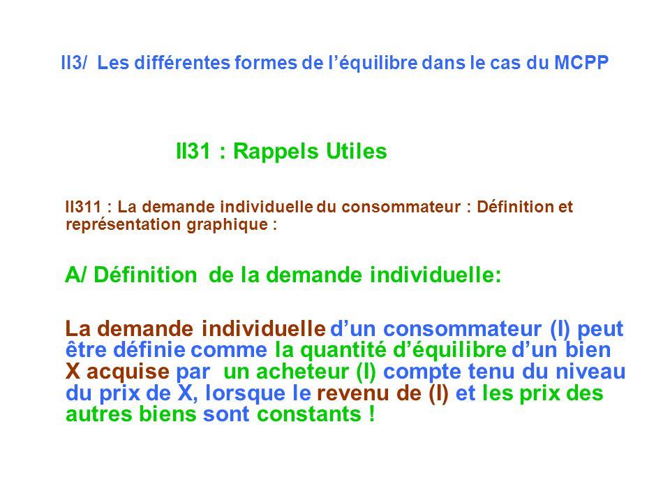 II3/ Les différentes formes de l'équilibre dans le cas du MCPP