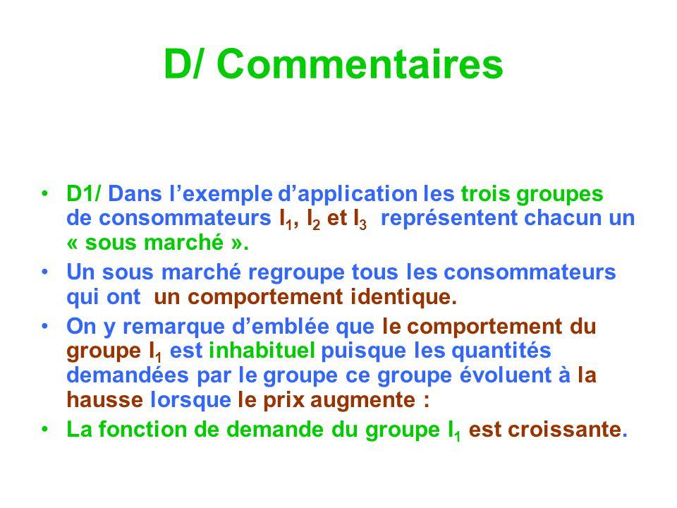D/ Commentaires D1/ Dans l'exemple d'application les trois groupes de consommateurs I1, I2 et I3 représentent chacun un « sous marché ».