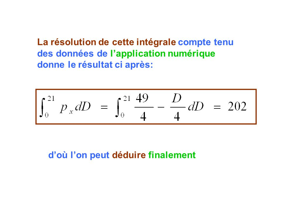 La résolution de cette intégrale compte tenu des données de l'application numérique donne le résultat ci après: