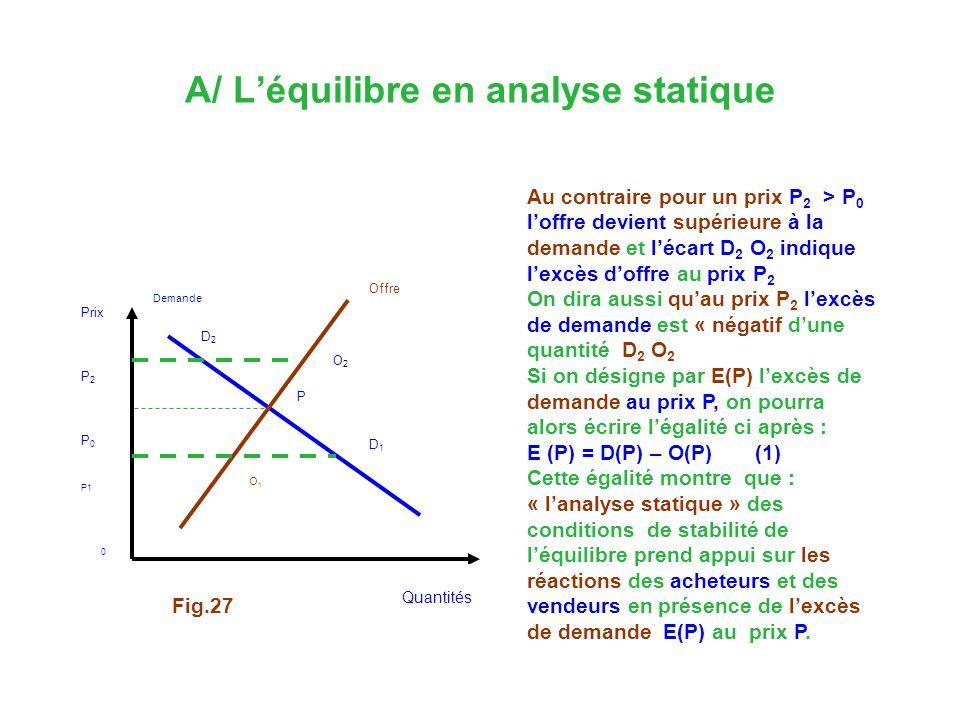 A/ L'équilibre en analyse statique