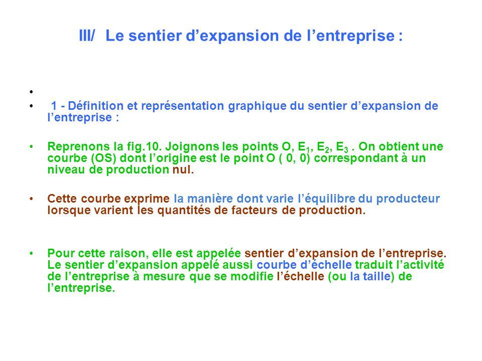 III/ Le sentier d'expansion de l'entreprise :