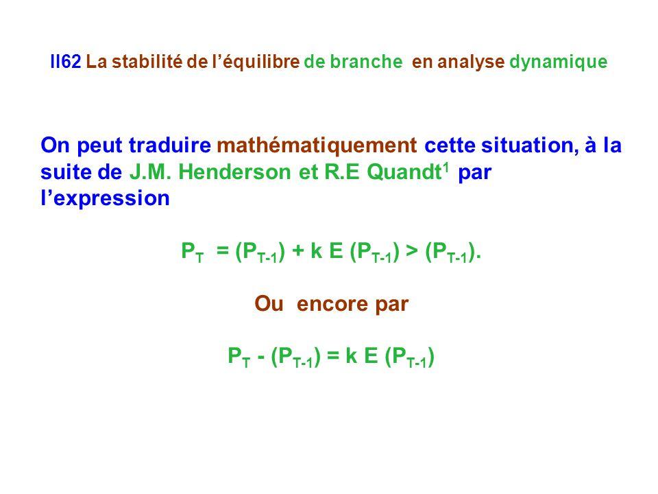 II62 La stabilité de l'équilibre de branche en analyse dynamique