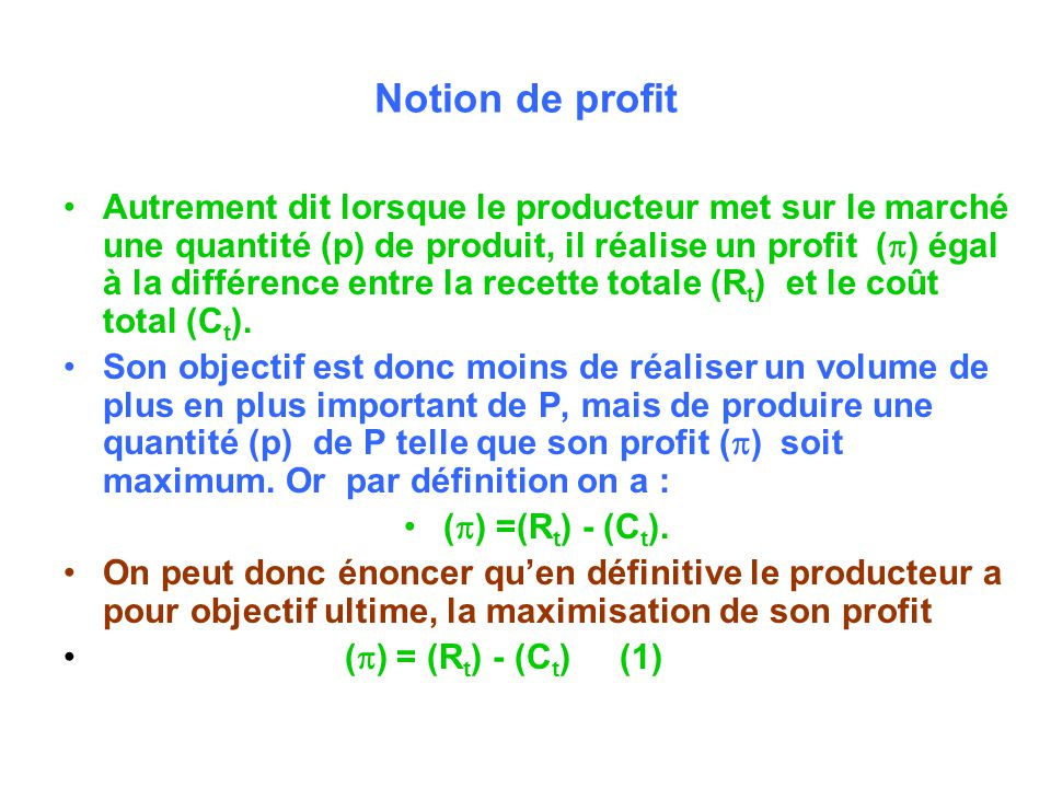 Notion de profit
