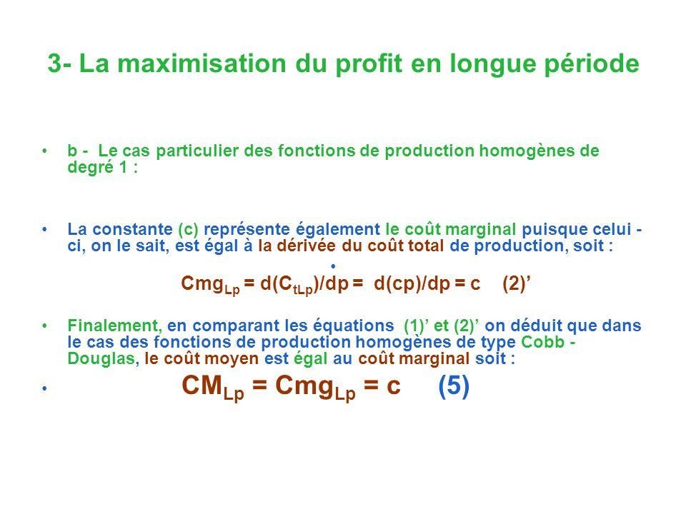 3- La maximisation du profit en longue période