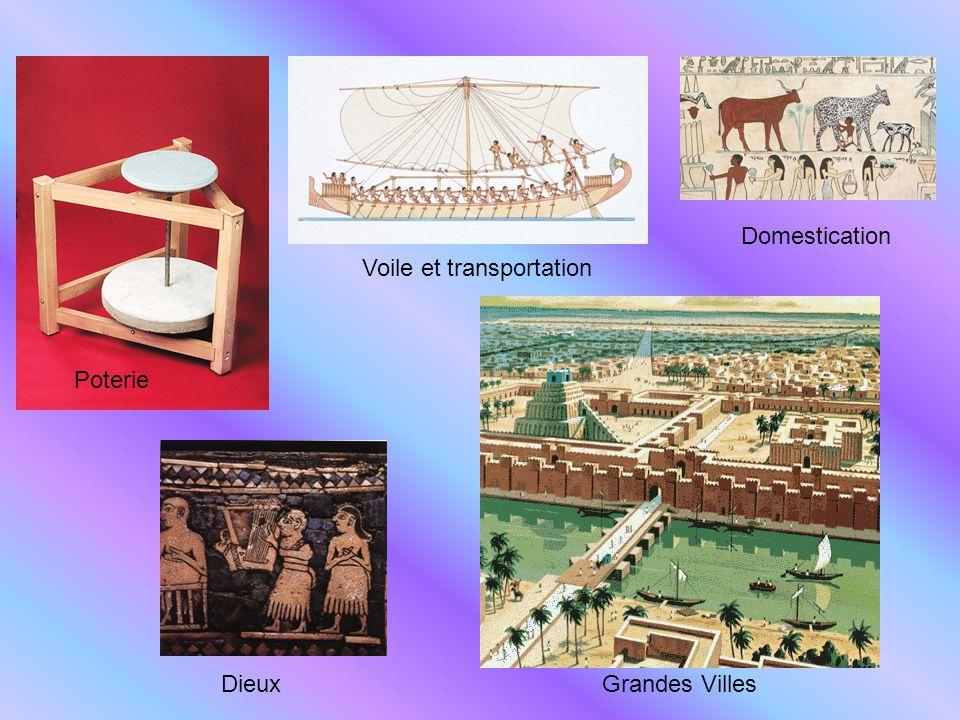 Domestication Voile et transportation Poterie Dieux Grandes Villes