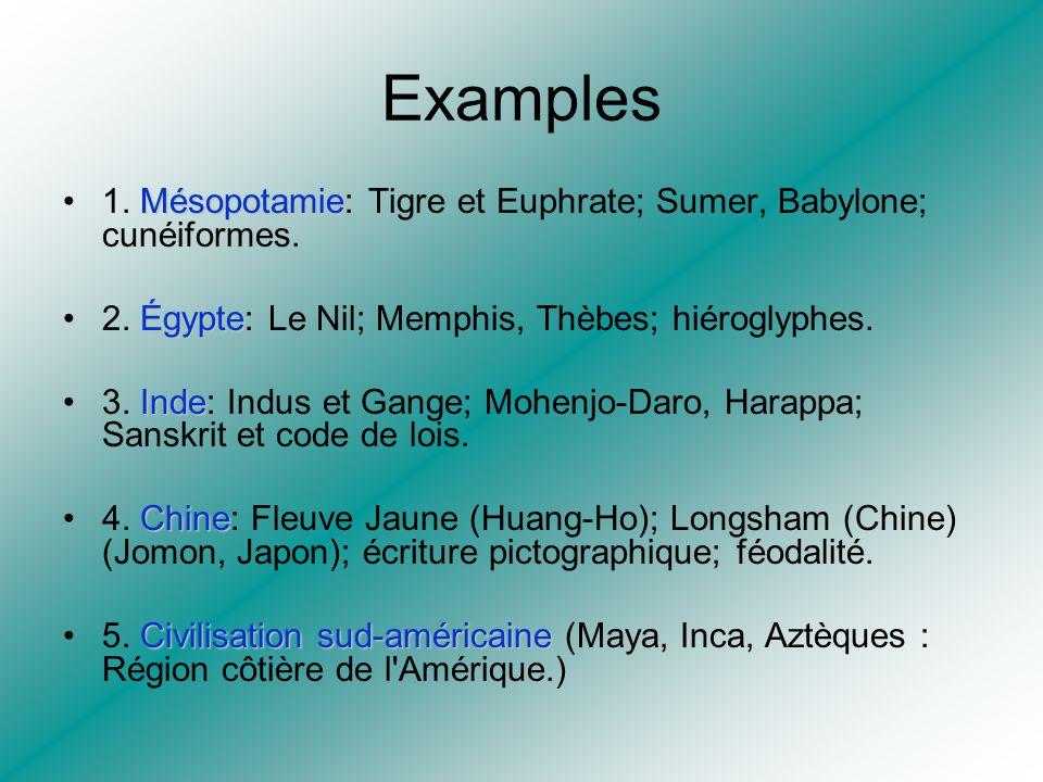 Examples 1. Mésopotamie: Tigre et Euphrate; Sumer, Babylone; cunéiformes. 2. Égypte: Le Nil; Memphis, Thèbes; hiéroglyphes.