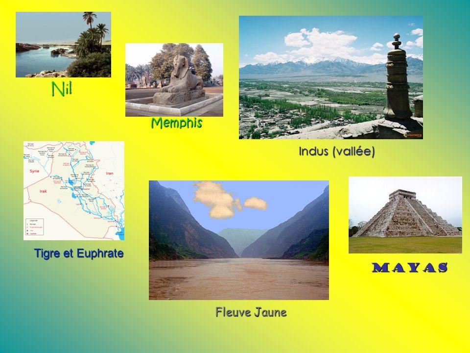 Nil Memphis Indus (vallée) Tigre et Euphrate Mayas Fleuve Jaune