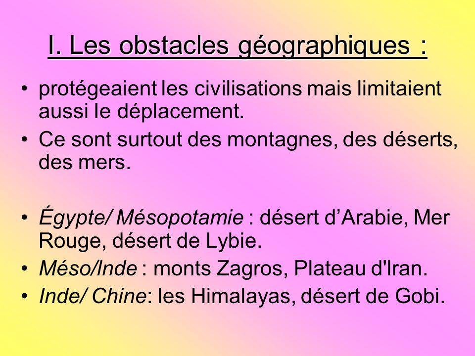 I. Les obstacles géographiques :
