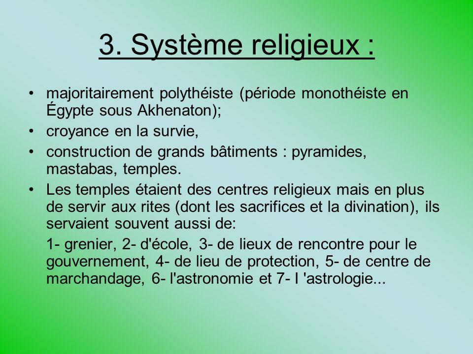 3. Système religieux : majoritairement polythéiste (période monothéiste en Égypte sous Akhenaton); croyance en la survie,