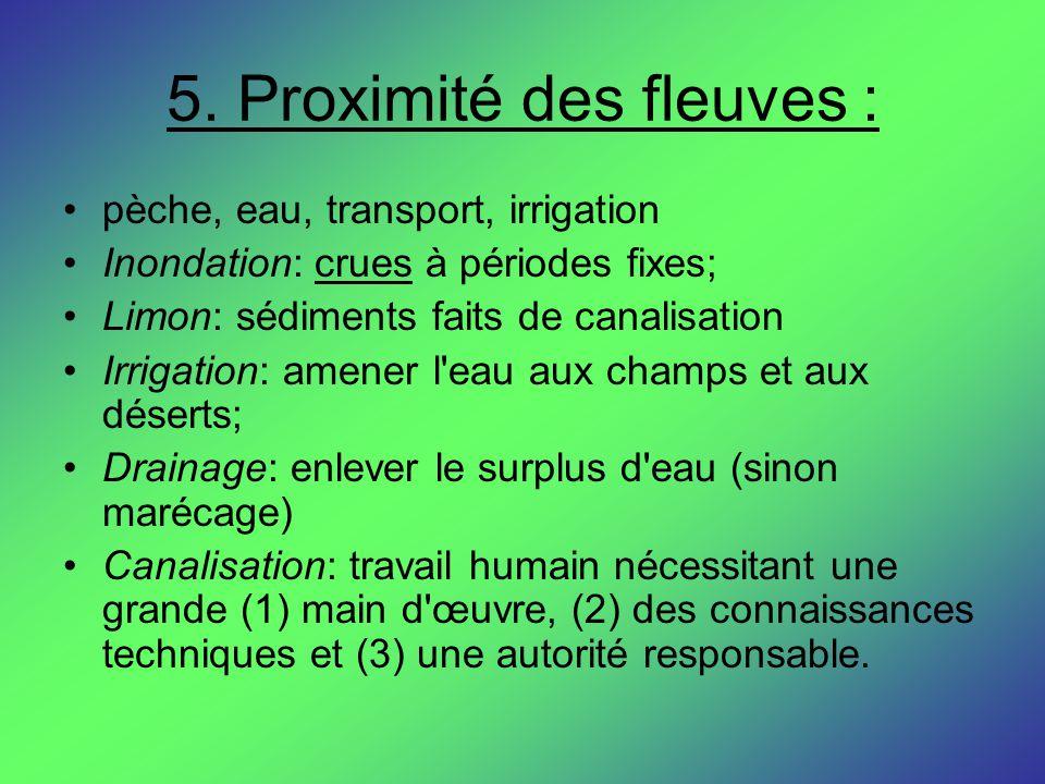 5. Proximité des fleuves :