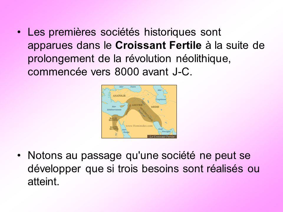 Les premières sociétés historiques sont apparues dans le Croissant Fertile à la suite de prolongement de la révolution néolithique, commencée vers 8000 avant J-C.