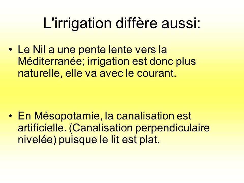 L irrigation diffère aussi: