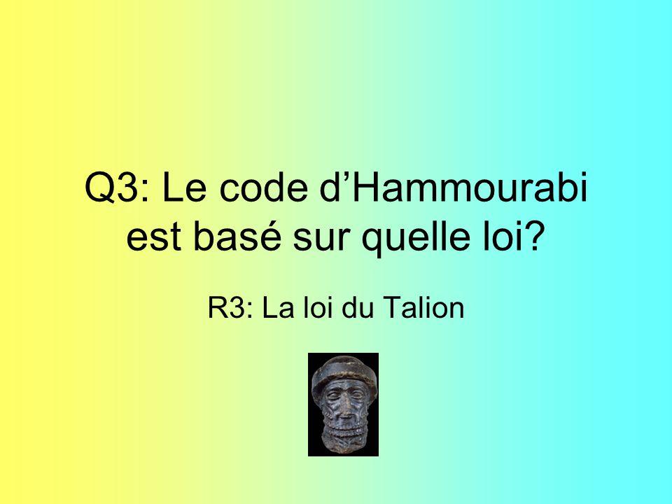 Q3: Le code d'Hammourabi est basé sur quelle loi