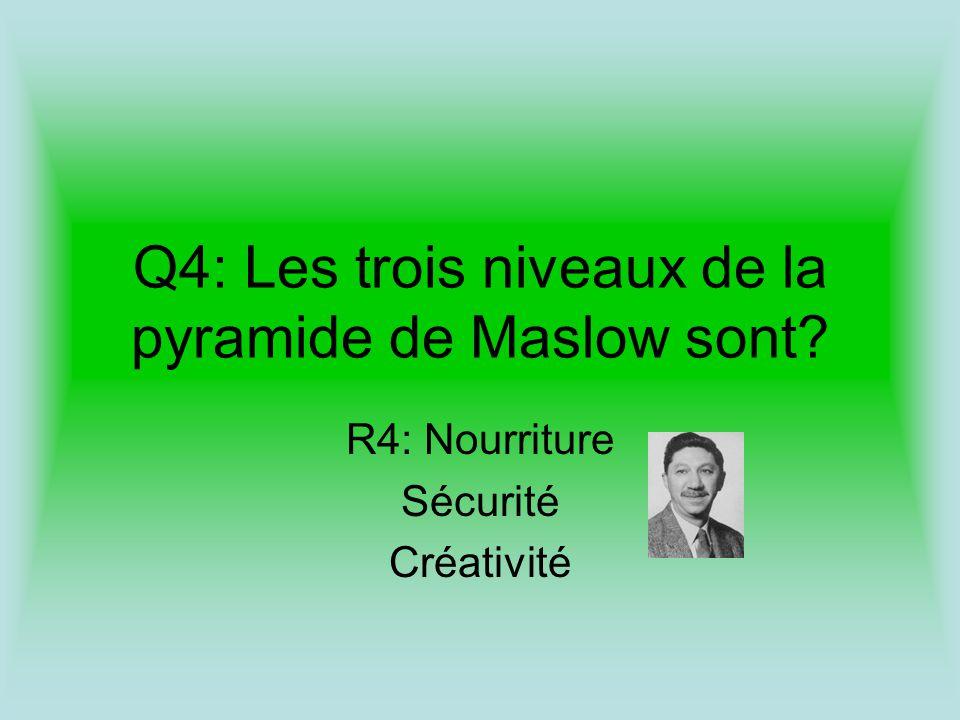 Q4: Les trois niveaux de la pyramide de Maslow sont