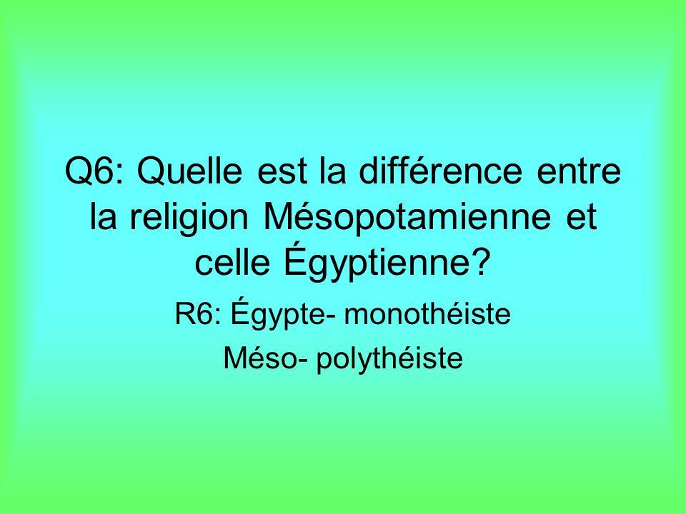R6: Égypte- monothéiste Méso- polythéiste
