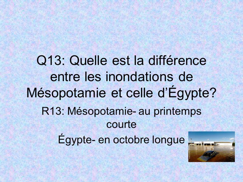 R13: Mésopotamie- au printemps courte Égypte- en octobre longue