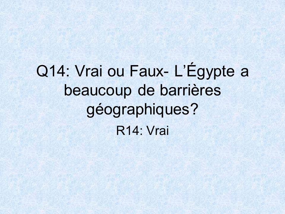 Q14: Vrai ou Faux- L'Égypte a beaucoup de barrières géographiques