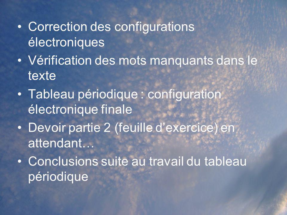 Correction des configurations électroniques