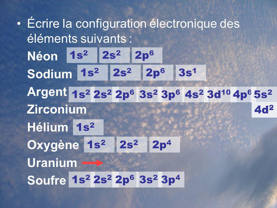 Écrire la configuration électronique des éléments suivants : Néon