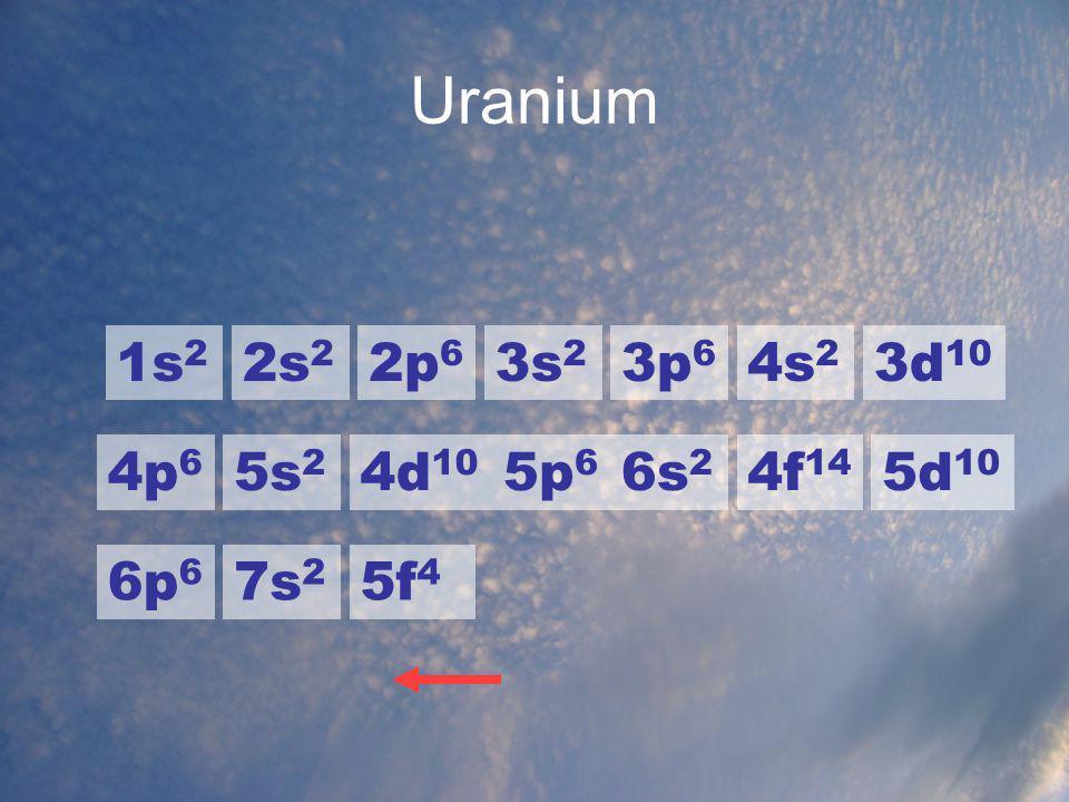 Uranium 1s2 2s2 2p6 3s2 3p6 4s2 3d10 4p6 5s2 4d10 5p6 6s2 4f14 5d10