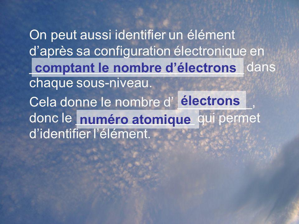 On peut aussi identifier un élément d'après sa configuration électronique en _____________________________ dans chaque sous-niveau.