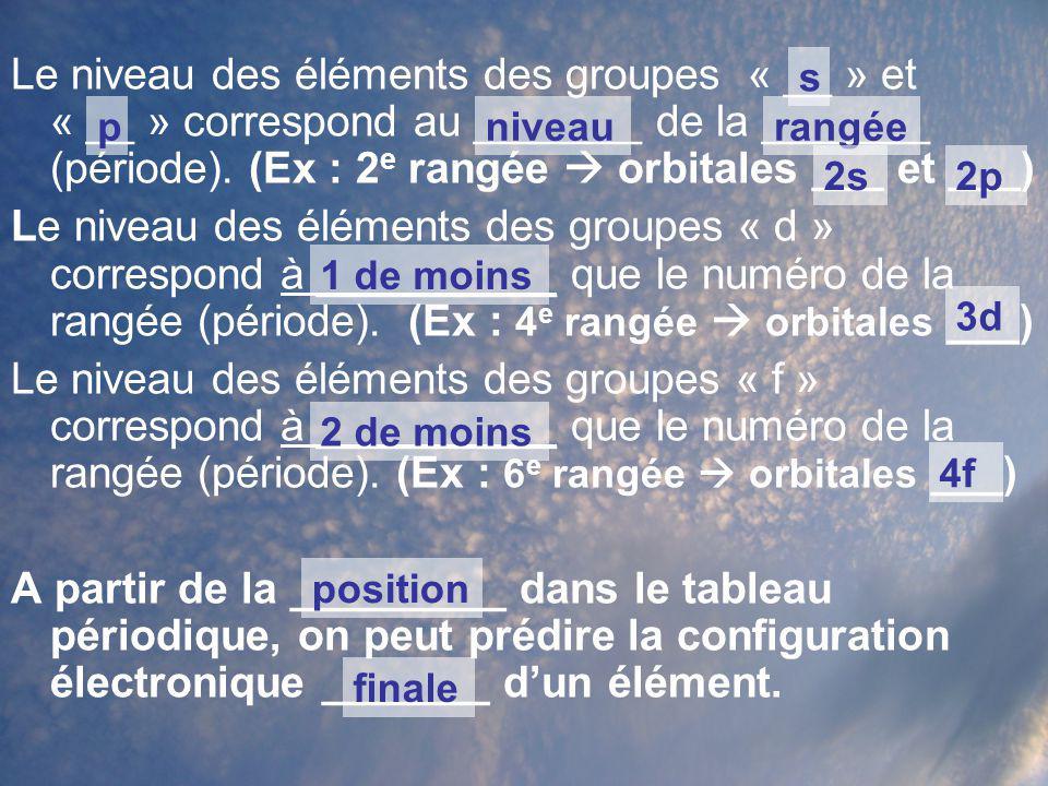 Le niveau des éléments des groupes « __ » et « __ » correspond au _______ de la _______ (période). (Ex : 2e rangée  orbitales ___ et ___)