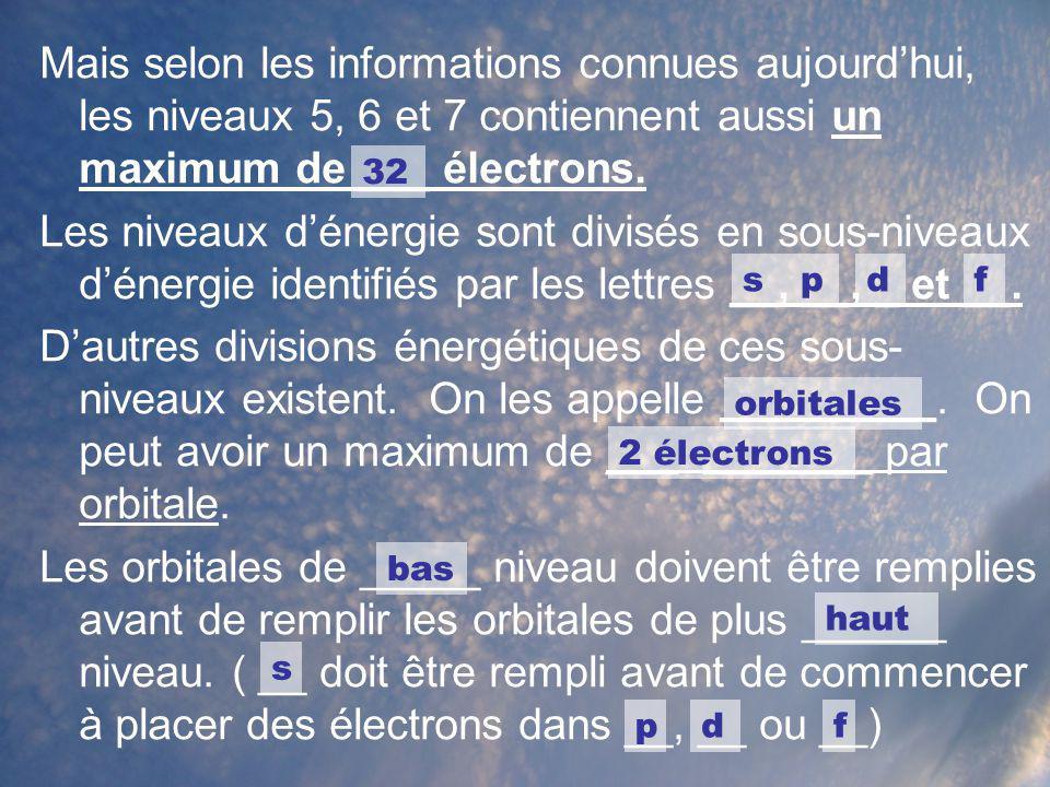 Mais selon les informations connues aujourd'hui, les niveaux 5, 6 et 7 contiennent aussi un maximum de ___ électrons.