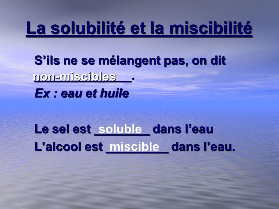 La solubilité et la miscibilité