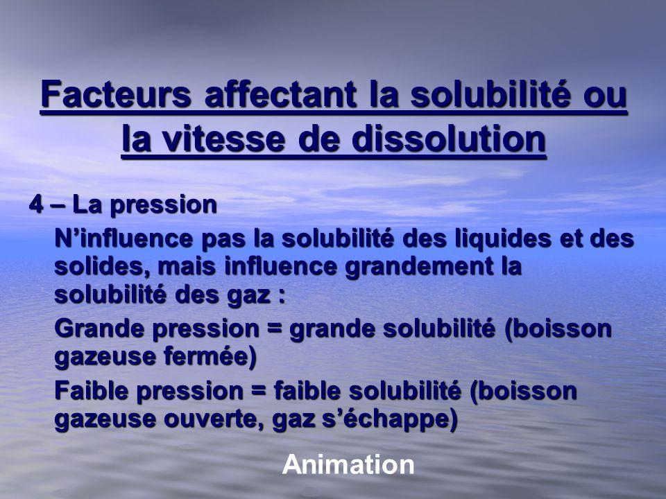 Facteurs affectant la solubilité ou la vitesse de dissolution