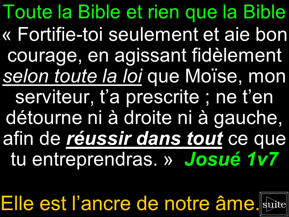 Toute la Bible et rien que la Bible