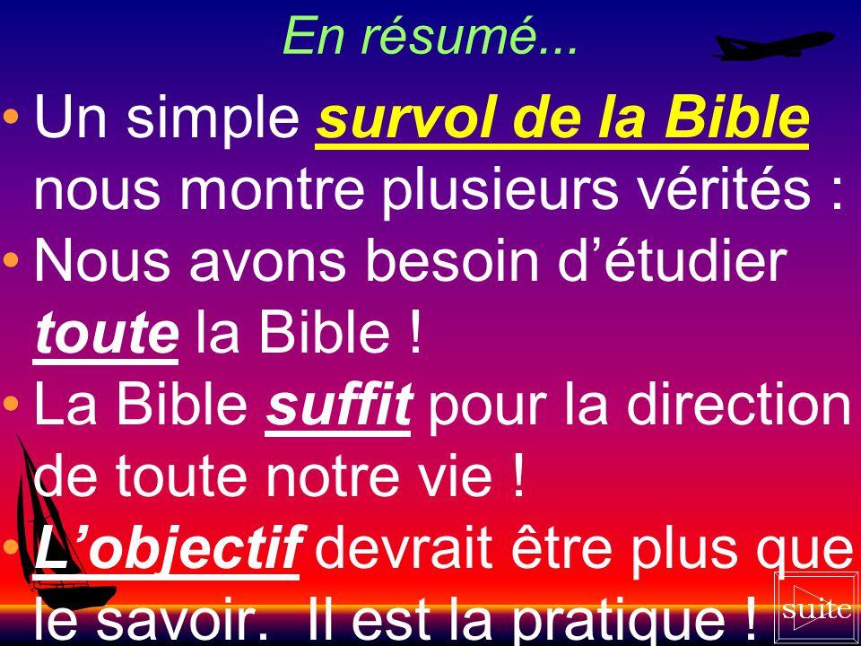 Un simple survol de la Bible nous montre plusieurs vérités :