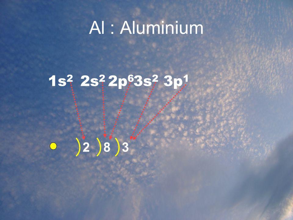 Al : Aluminium 1s2 2s2 2p6 3s2 3p1 2 8 3