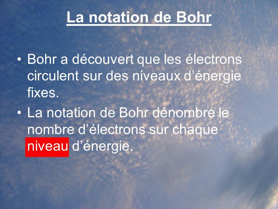 La notation de Bohr Bohr a découvert que les électrons circulent sur des niveaux d'énergie fixes.