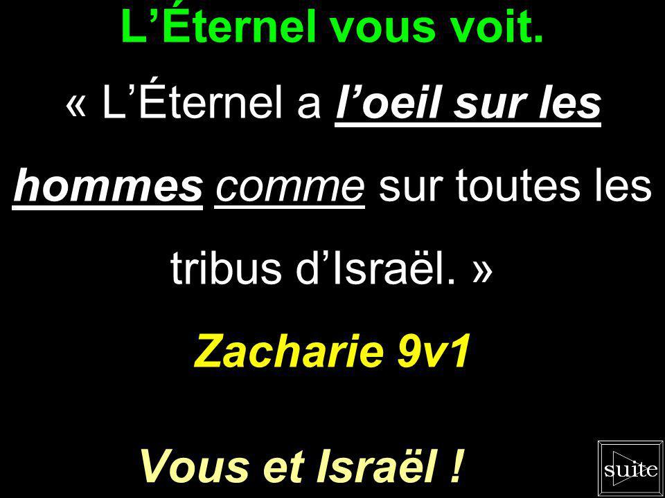 L'Éternel vous voit. « L'Éternel a l'oeil sur les hommes comme sur toutes les tribus d'Israël. » Zacharie 9v1.