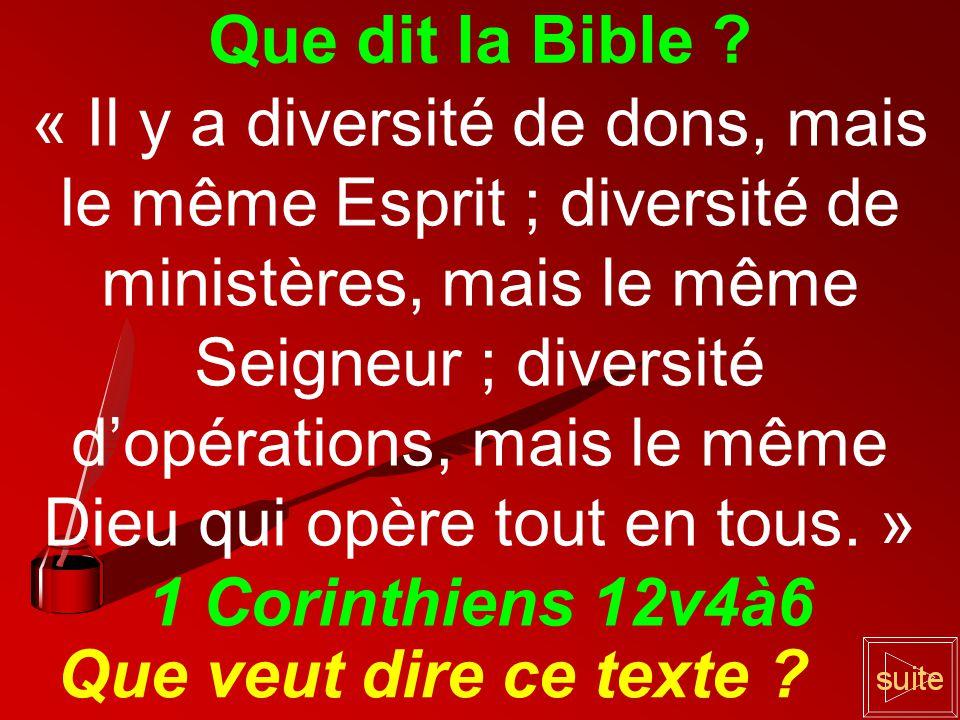 Que dit la Bible 1 Corinthiens 12v4à6 Que veut dire ce texte