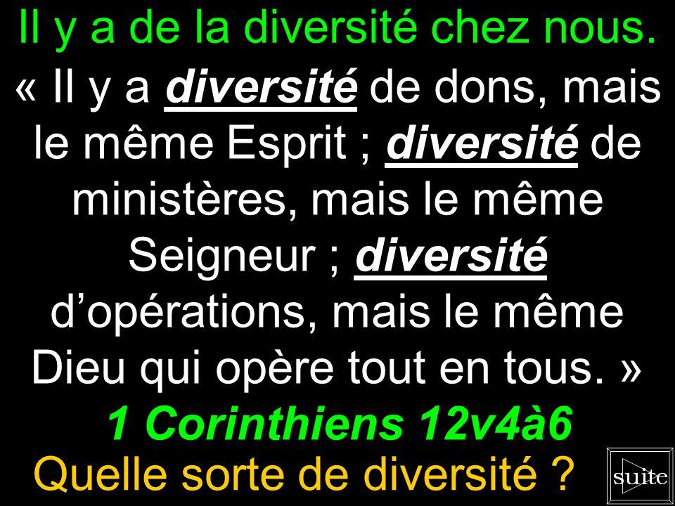 Il y a de la diversité chez nous.