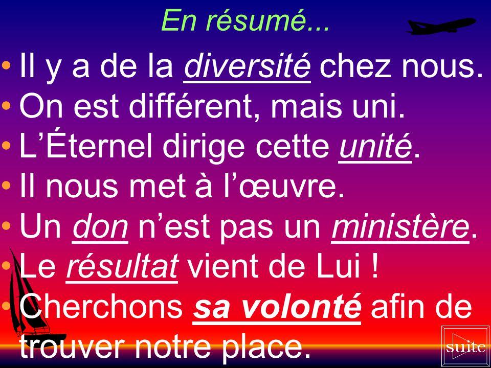 Il y a de la diversité chez nous. On est différent, mais uni.
