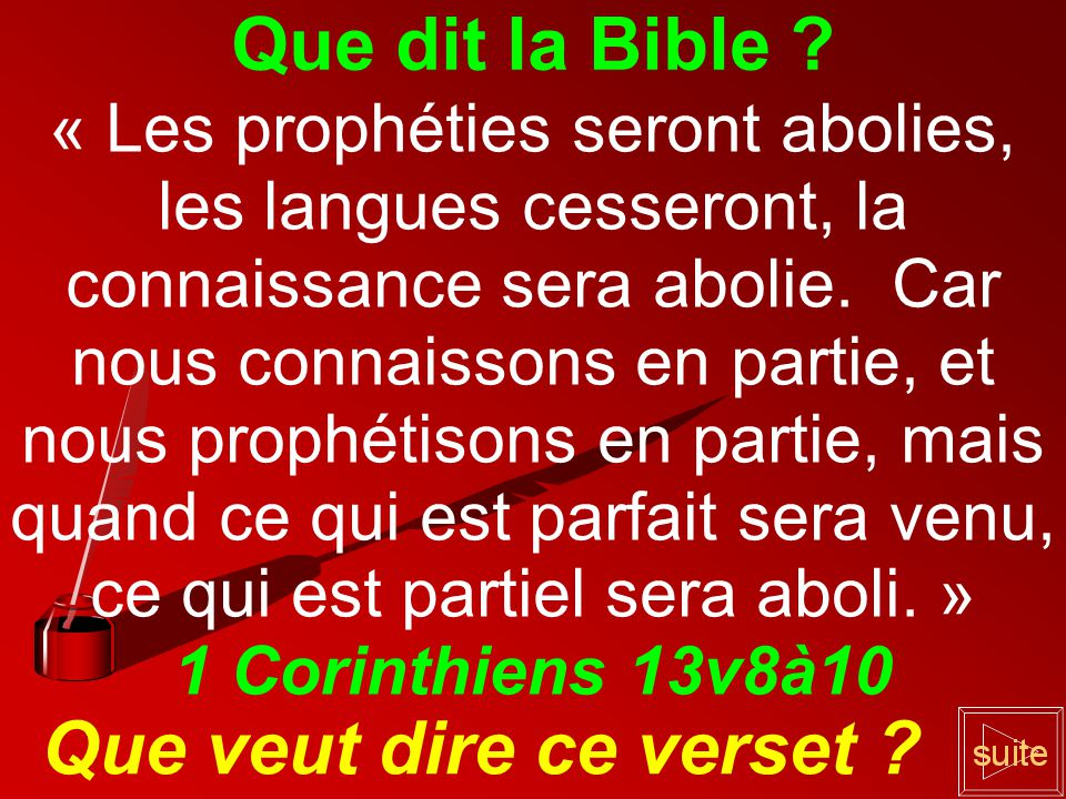 Que dit la Bible Que veut dire ce verset
