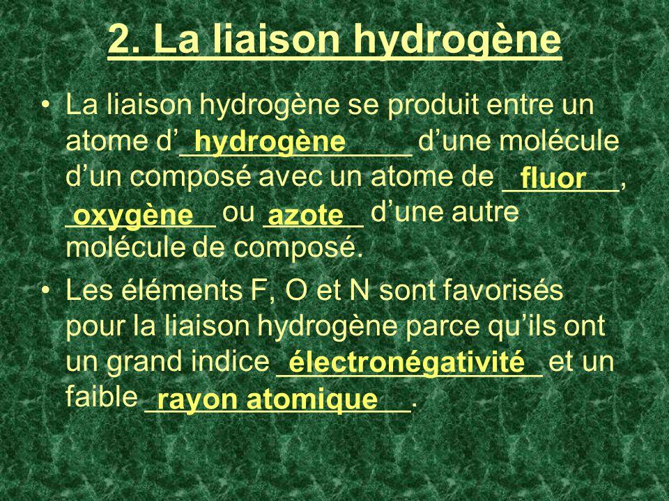 2. La liaison hydrogène