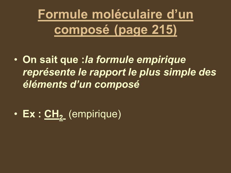 Formule moléculaire d'un composé (page 215)